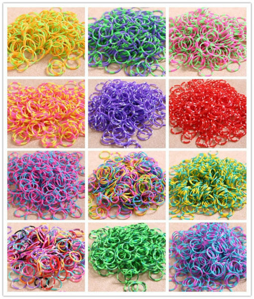 Mix colorful Silicone Bracelet Crazy DIY Cheap Elastic Rubber Loom Bands Wholesale