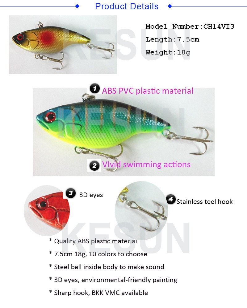 CH14VI3 VIB bait 7.5cm 18g hard VIB lure hard minnow lure bass fishing lure