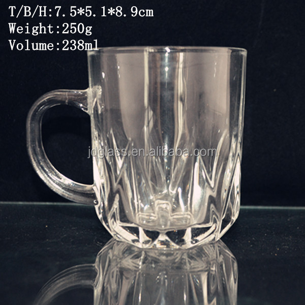 clear disposable glass mug for tea juice water drinking