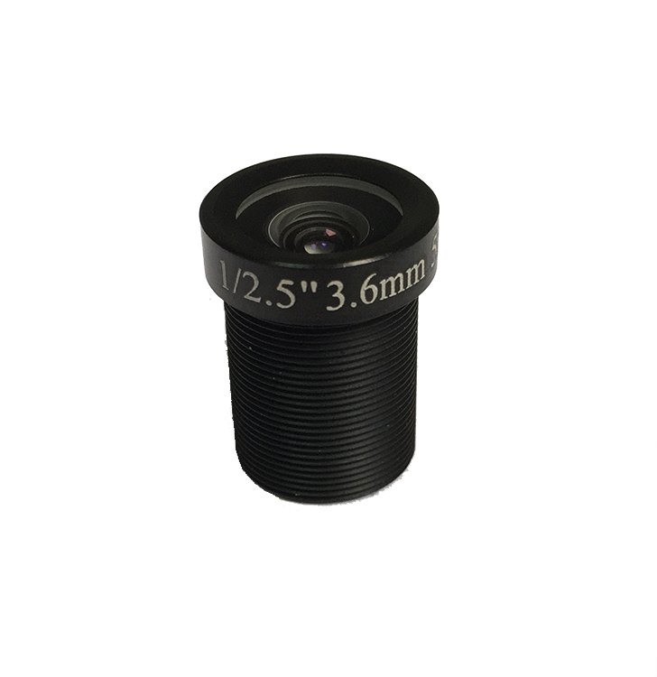 3.6mm F1.8 5MP fixed iris cctv board lens with IR cut Filter