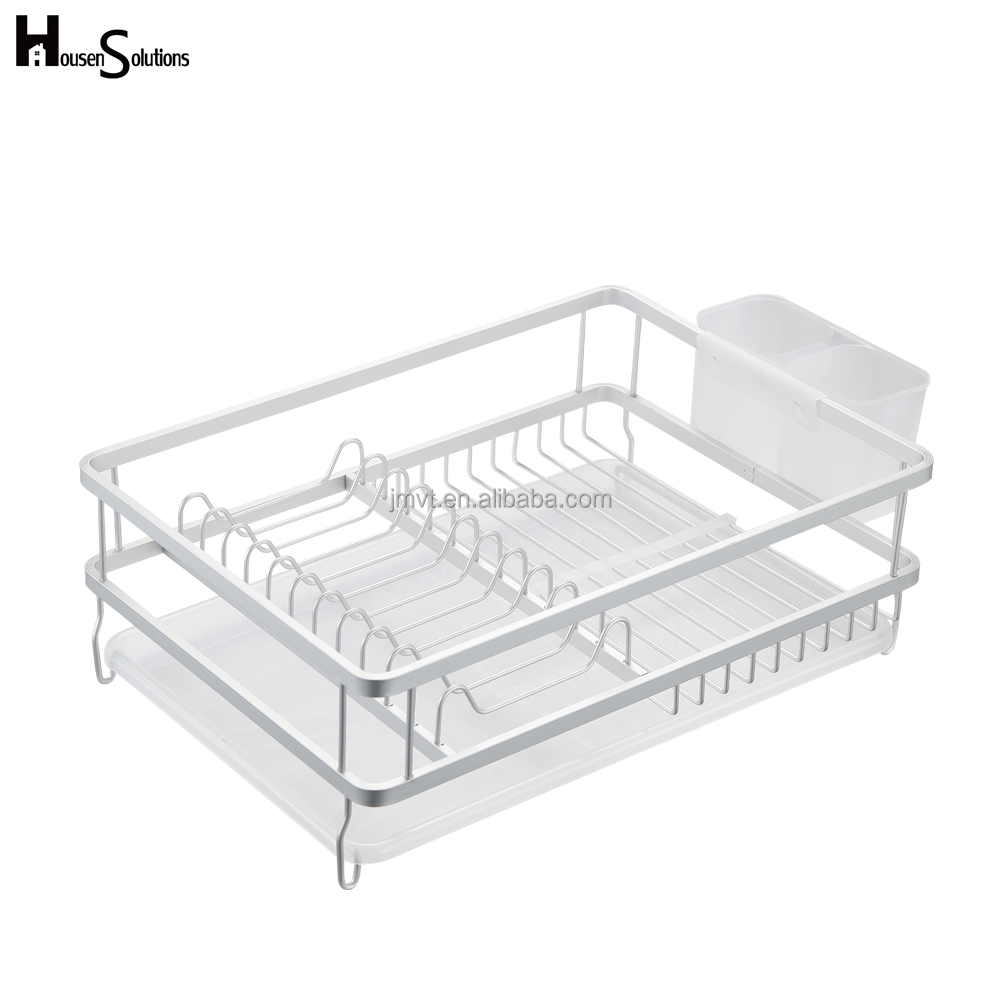 Aluminum Large Capacity Kitchen Dish Drainer Rack and Drip Tray for Tableware, Bowls, Plates