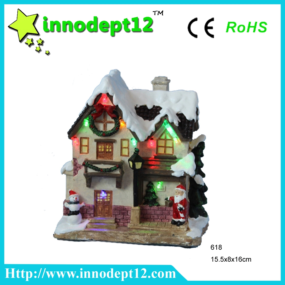 "6""Christmas decoration village snow house with led light, paper mache Christmas craft"