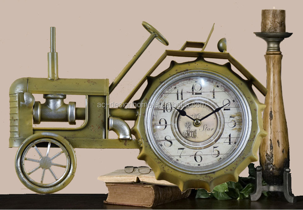ANTIQUE LEMON METAL TRACTOR SHAPE TABLE TOP CLOCK
