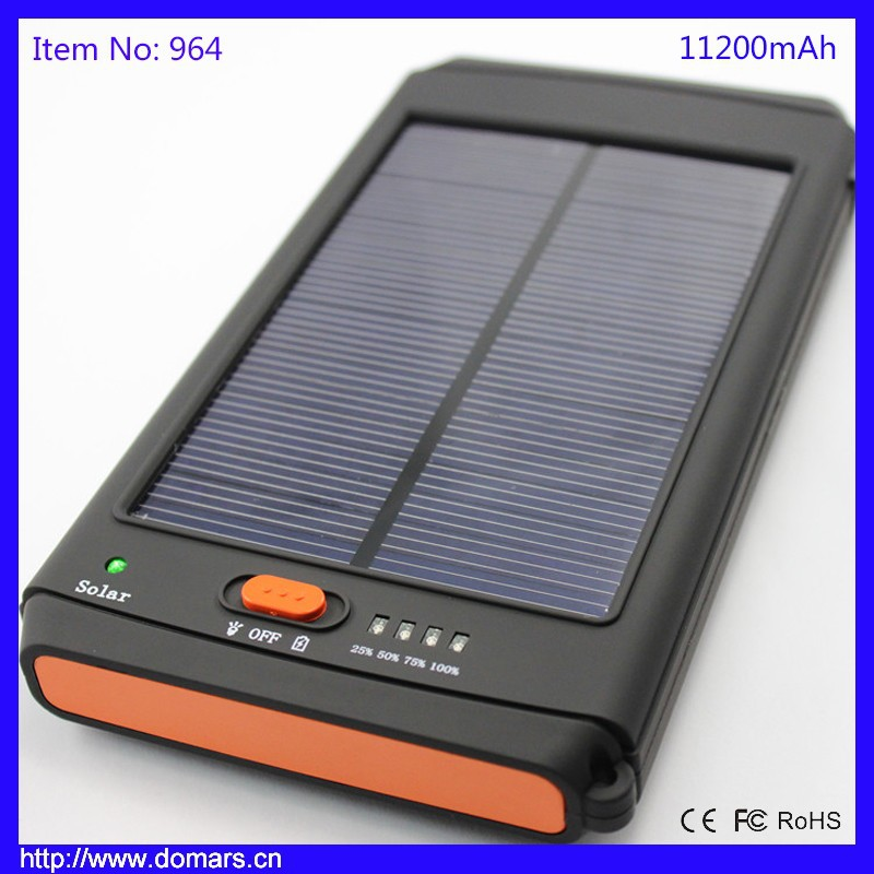 11200mAh Dual USB Solar Power Bank for iPhone 6 Plus, 5s, 5c, 5, 4s, iPod, Samsung Galaxy S6, S6, Edge S5, S4, S3 and Mor