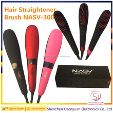 NASV-300 Automatic LCD Temperature Control Paddle Brush Hair Straightener Brush US EU UK AU Plug Beauty Star Hair Brush
