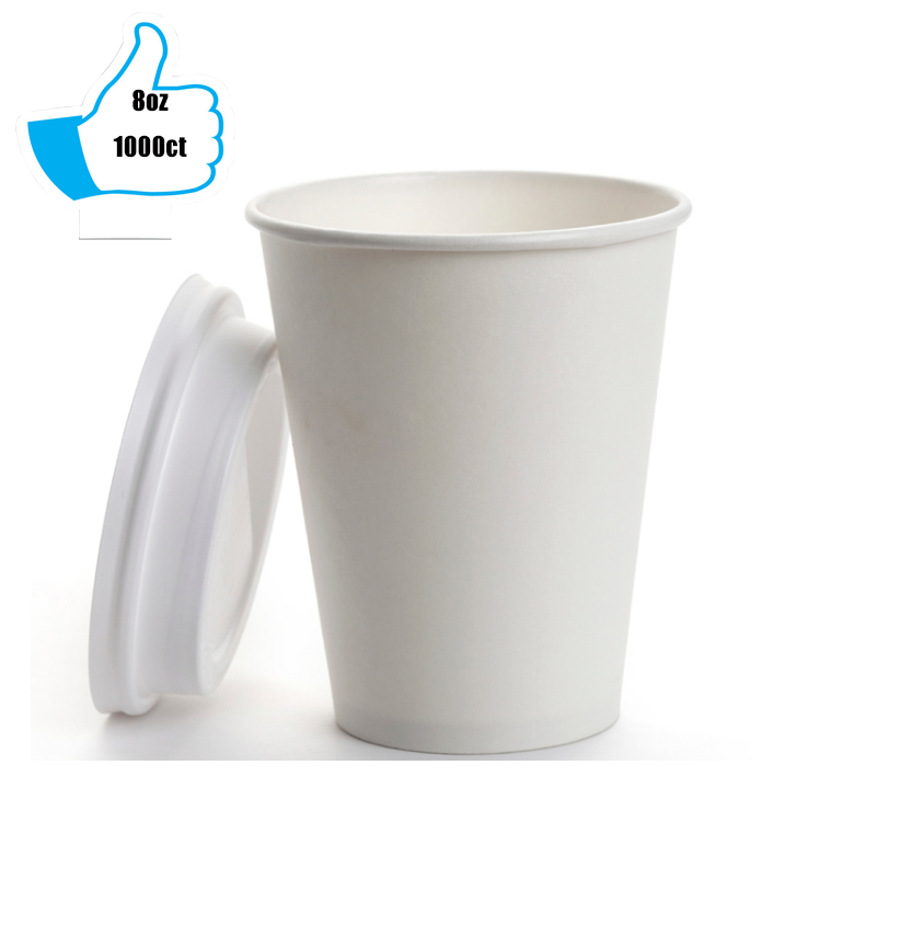 8oz Disposable Single Wall White Paper Cup For Hot Drinking