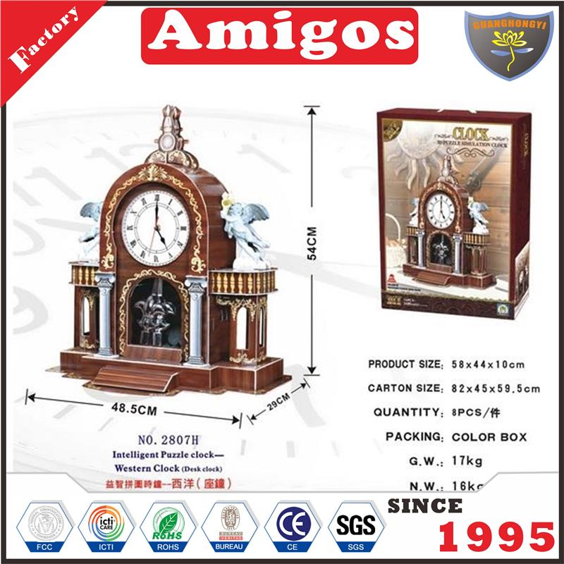 hot educational toy puzzle intelligent puzzle clock-western clock desk clock kids jigsaw Puzzle