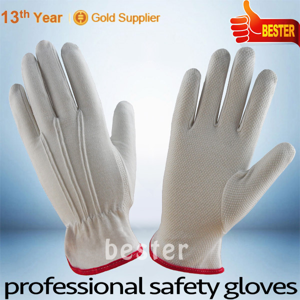 High Performance Three Stiches Lines 100% Cotton Glove with Pvc Dots on palm with Great Low Price
