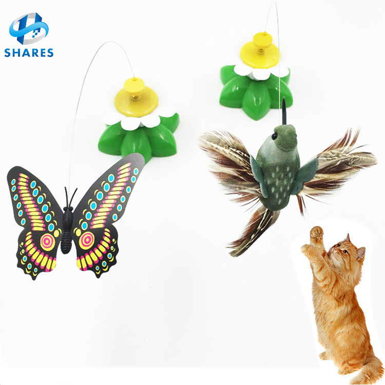 Electric Rotating Colorful Butterfly Funny Plastic Pet Cat Toy Plastic Flying Bird Cat Toy