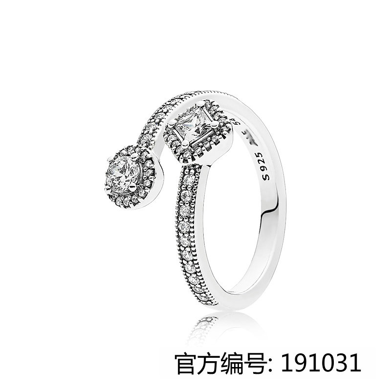 2017 New pure jewelry 925 silver engagement rings Round Diamond Stone cutting zircon opening rings for Women factory price