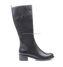 Wholesale Classic lady Flat leather Boots Women Winter Black Knee High Boots