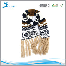 Factory high quality thick acrylic knit Kid's winter custom scarf with fringes