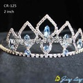 Bridal wedding crown tiara with big sapphire stone