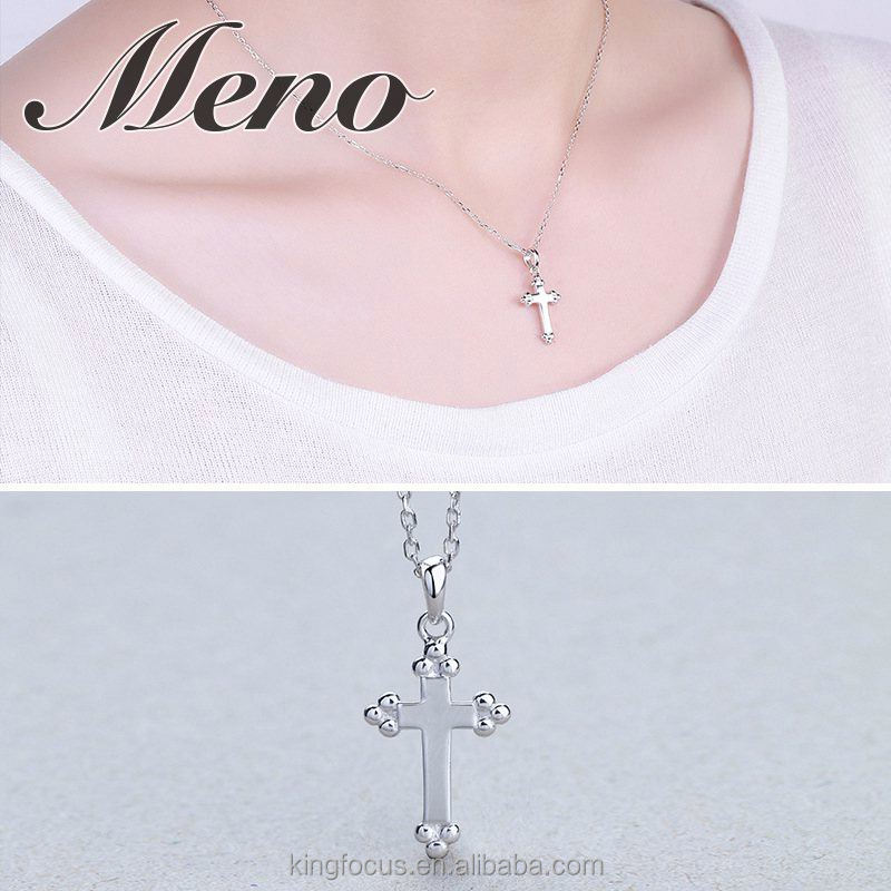Meno S925 silver cross necklace fashion all-match