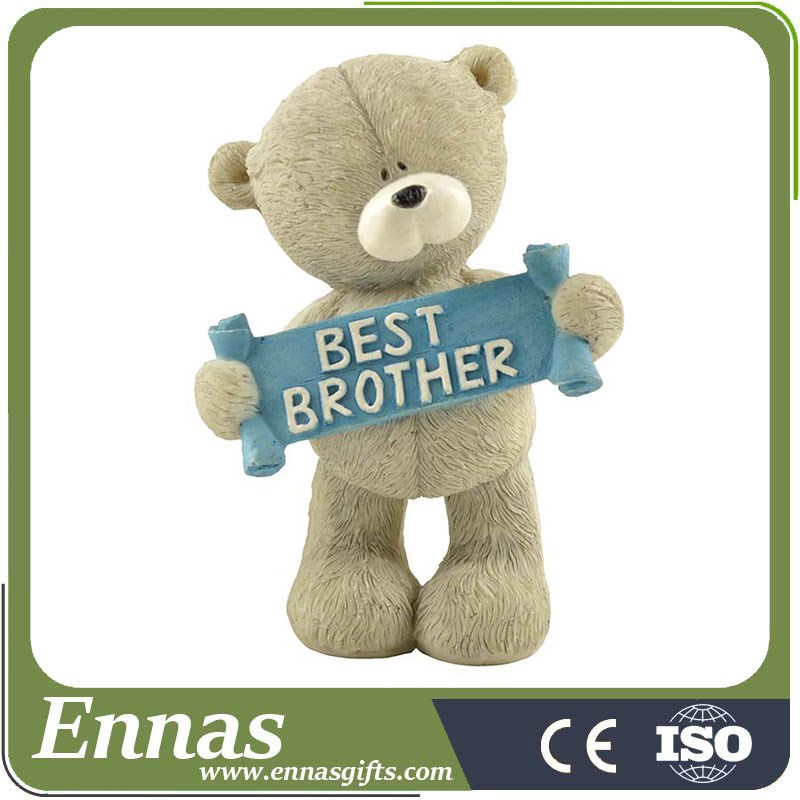 "Wholesale Brother gifts Polyresin animal bear figurine with letters ""BEST BROTHER"""