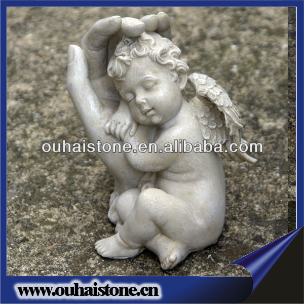 Cheap Garden Stone Meditating Nude Winged Little Boy Angel Marble Statues