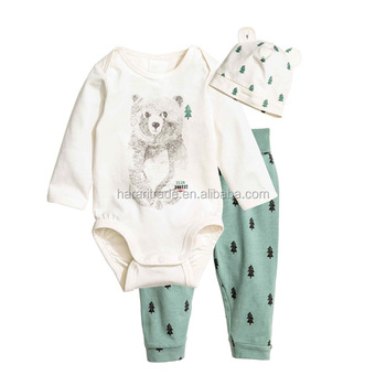 2016Vintage Baby Clothes Set Wholesale Fall Long Sleeve Romper and Cotton Pants Outfits Baby Boy 3PCS Outfits
