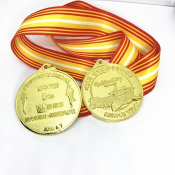 Make your own logo 3D 18K gold plating running medals for Korea company
