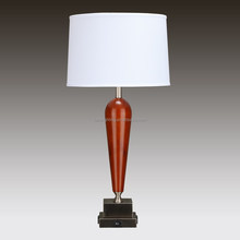 "31""H Dark Willow Wood Table Lamp with two convenience outlets and on/off rocker base switch"