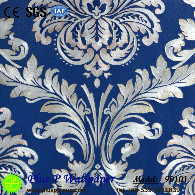 Plus P european style 3d pvc wall paper hot sale in Pakistan