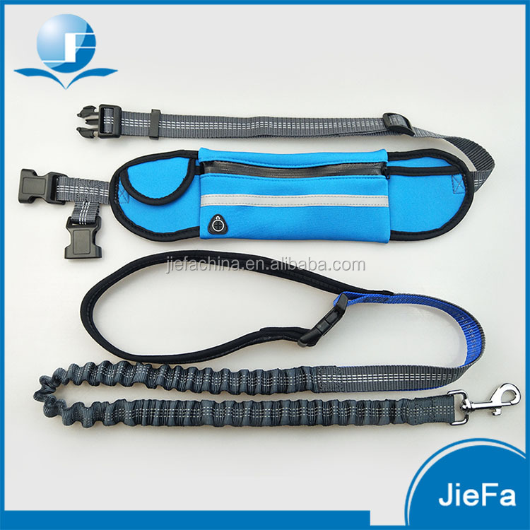 Factory Wholesale Hands Free Dog Lead Elastic Dog Running Leash with Waist Bag