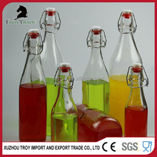 promotion gift beverageware type glass milk bottle with swing lid from bottle manufacture