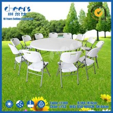 "72"" plastic round banquet table for hotel/180cm hdpe folding wedding table with cart"