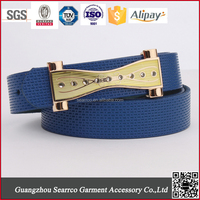 2015 newest Fashion Brand England lady's PU Belt with gold buckle for export for clothes