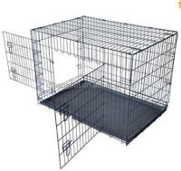 Metal folding douable doors dog kennel pet crate kennel manufacturer