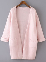 Sweaters Tops fashion women girl clothes Pink Long Sleeve Pockets Knit Loose Cardigan