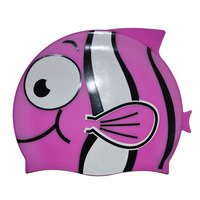 high quality funny cartoon fish silicone swim cap for kids wholesale