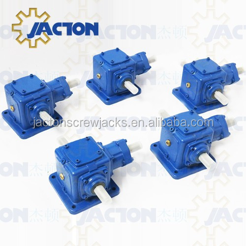 Vietnam clients JT25 1 inch input gearbox 1:1 ratio one input double output shafts 3 way for crank up lift mechanism for table