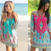 W11319G 2016 hot sell European and American trade wind collar skirt beach dress wholesale Thailand