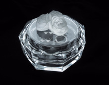 Luxury Small Crystal Clear Glass Jewelry Ring box