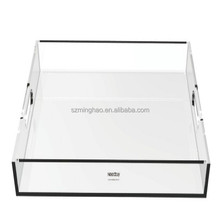 Wholesale clear acrylic serving tray/ plexiglass serving tray