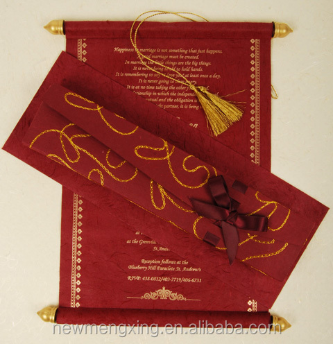 Handmade wooden scroll rods wedding invitation card