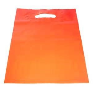 100% Biodegradable Orange Film Im-Printed Stock Plastic Shopping Bag