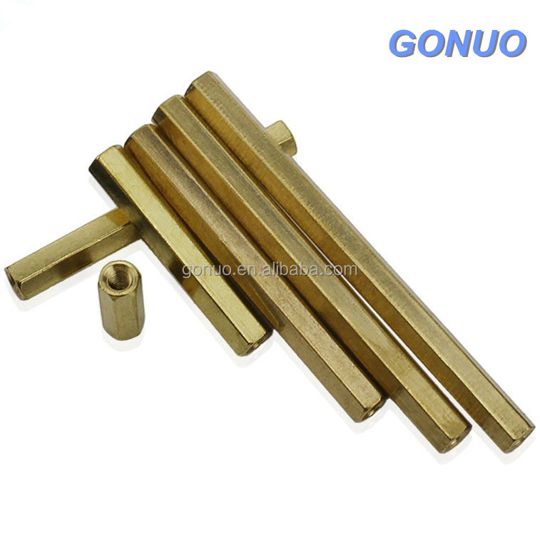 Brass threaded long hex coupling nut