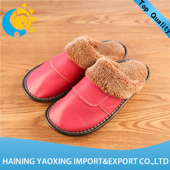 Hot genuine leather cow indoor slippers ladies 2017 custom supplier