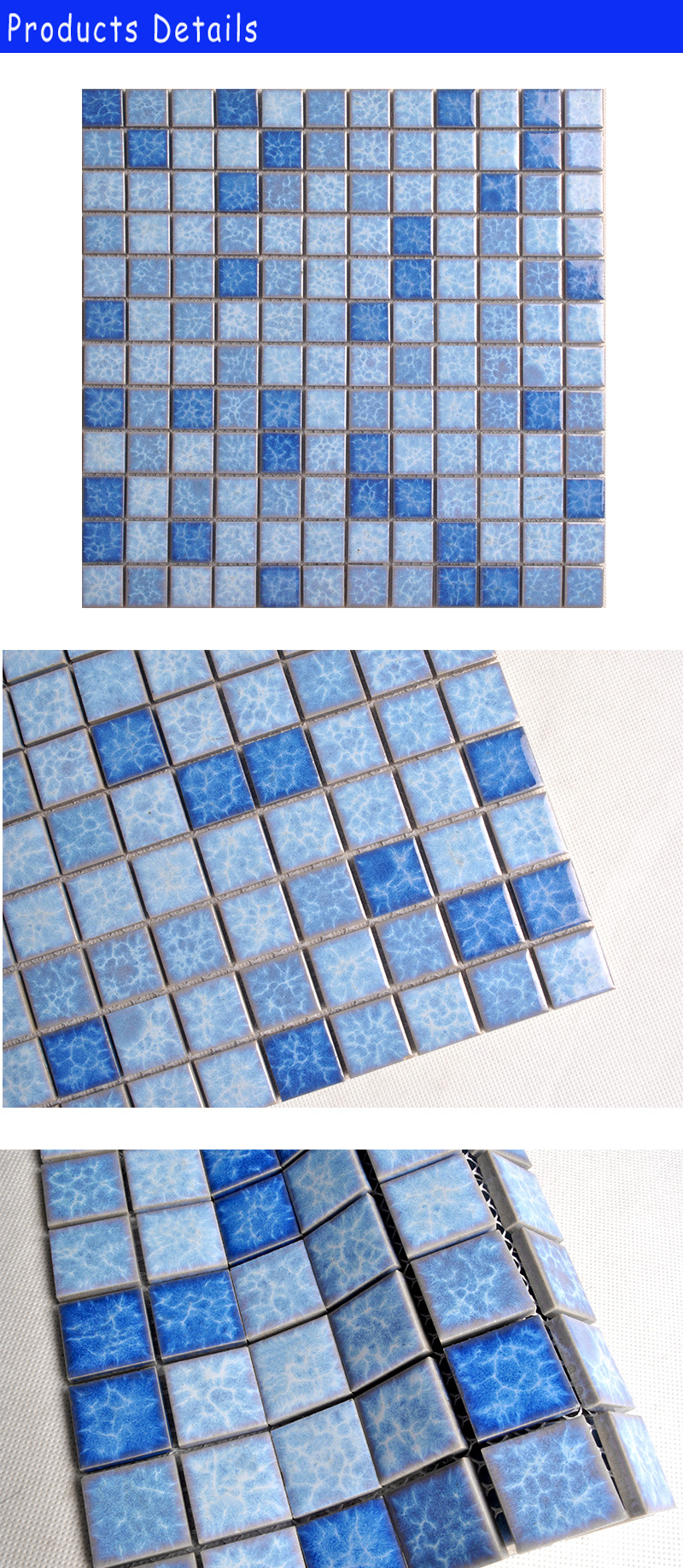 Asian three-color mixed blue swimming pool wall mosaic tiles dubai
