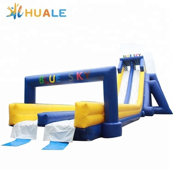 Commercial grade 40*12*10m inflatable water park slide double lane water slide