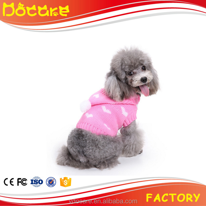 China factory dog clothing sweater warm soft knit wool with hat