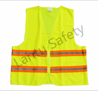 100% polyester Fluo yellow reflective safety vest with warning tape road safety equipment