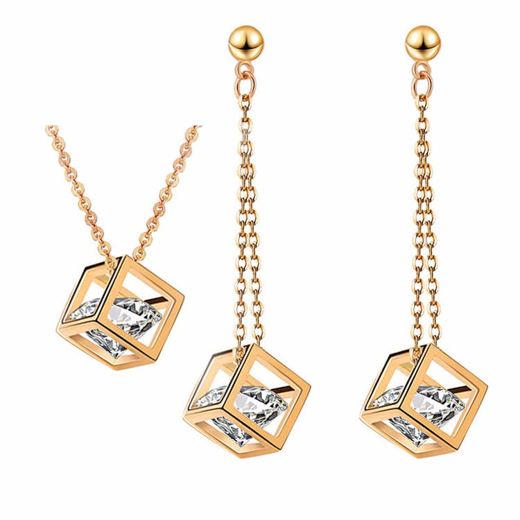 Top grade cubic zircon magic cube diamond locket 18k gold plated jewelry <strong>sets</strong>
