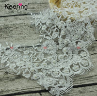 High quality lace type product beaded embroidery bridal lace fabric trim
