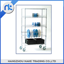 5 tier metal movable chrome wire shelf