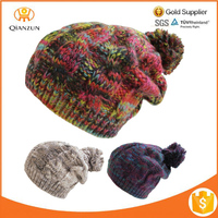 Womens or Mens Oversized Chunky Cable Knit Pom Pom Beanie Slouch Winter Wool Hat