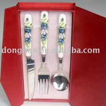 stainless steel flatware with ceramic handle in gift box
