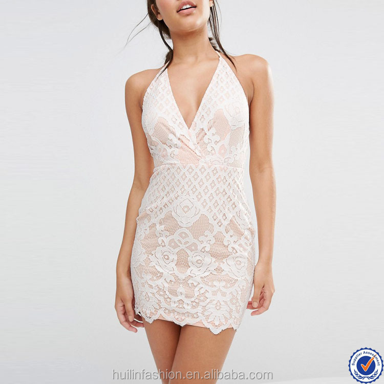 latest dress designs photos women dresses halter neck plunge front sexy mini lace dress