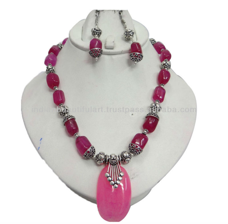 Pink Banded Agate Stone Silver Tone Necklace Pendant Earring Set Fashion Jewelry